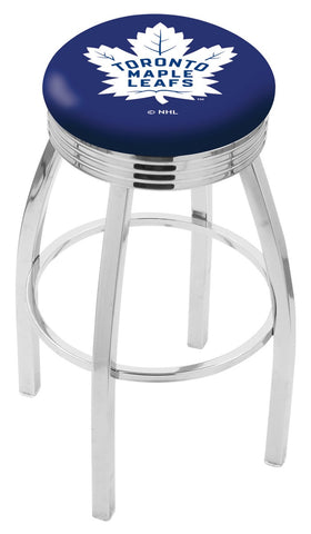 "30"" L8C3C - Chrome Toronto Maple Leafs Swivel Bar Stool with 2.5"" Ribbed Accent Ring by Holland Bar Stool Company"