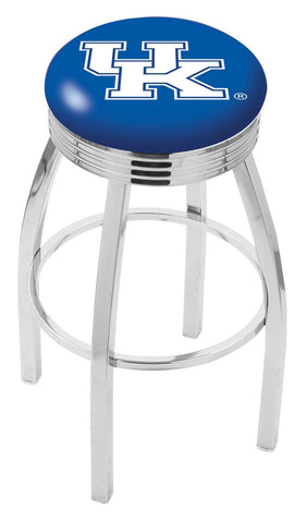 "UK Wildcats 30"" L8C3C - Chrome Kentucky ""UK"" Swivel Bar Stool with 2.5"" Ribbed Accent Ring by Holland Bar Stool Company"