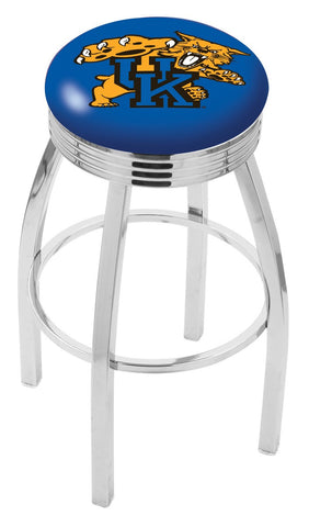 "UK Wildcats 30"" L8C3C - Chrome Kentucky ""Wildcat"" Swivel Bar Stool with 2.5"" Ribbed Accent Ring by Holland Bar Stool Company"