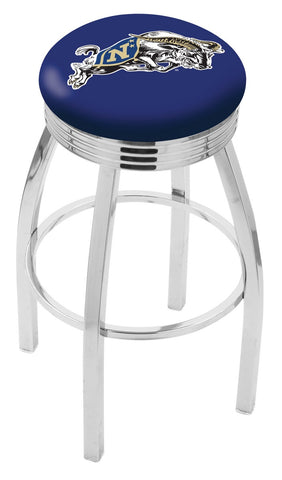 "Navy Midshipmen 30"" L8C3C - Chrome US Naval Academy (NAVY) Swivel Bar Stool with 2.5"" Ribbed Accent Ring by Holland Bar Stool Company"
