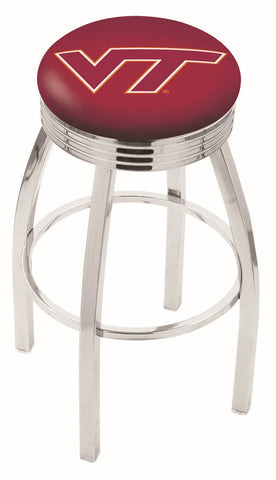 "VT Hokies 30"" L8C3C - Chrome Virginia Tech Swivel Bar Stool with 2.5"" Ribbed Accent Ring by Holland Bar Stool Company"