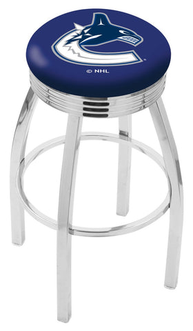 "30"" L8C3C - Chrome Vancouver Canucks Swivel Bar Stool with 2.5"" Ribbed Accent Ring by Holland Bar Stool Company"