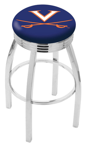 "UVA Cavaliers 30"" L8C3C - Chrome Virginia Swivel Bar Stool with 2.5"" Ribbed Accent Ring by Holland Bar Stool Company"