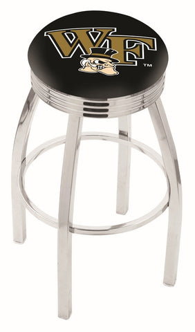 "Wake Forest Demon Deacons 30"" L8C3C - Chrome Wake Forest Swivel Bar Stool with 2.5"" Ribbed Accent Ring by Holland Bar Stool Company"