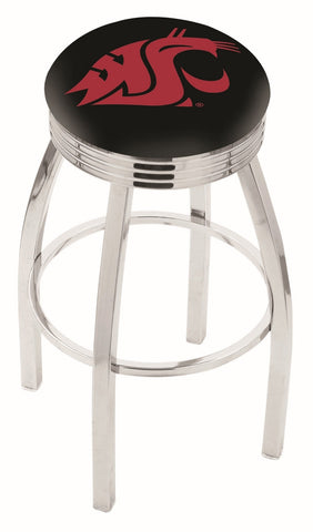 "WSU Cougars 30"" L8C3C - Chrome Washington State Swivel Bar Stool with 2.5"" Ribbed Accent Ring by Holland Bar Stool Company"