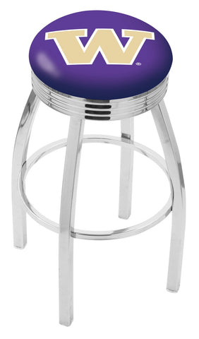 "UW Huskies 30"" L8C3C - Chrome Washington Swivel Bar Stool with 2.5"" Ribbed Accent Ring by Holland Bar Stool Company"