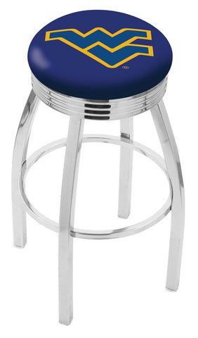 "WVU Mountaineers 30"" L8C3C - Chrome West Virginia Swivel Bar Stool with 2.5"" Ribbed Accent Ring by Holland Bar Stool Company"