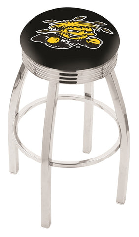 "Wichita State  Shockers 30"" L8C3C - Chrome Wichita State Swivel Bar Stool with 2.5"" Ribbed Accent Ring by Holland Bar Stool Company"
