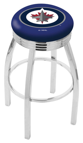 "30"" L8C3C - Chrome Winnipeg Jets Swivel Bar Stool with 2.5"" Ribbed Accent Ring by Holland Bar Stool Company"