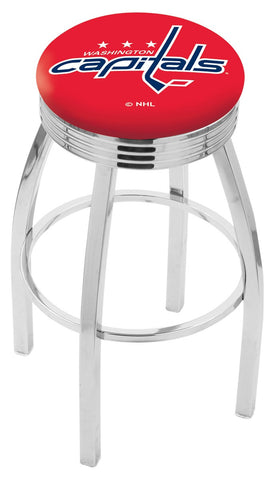 "30"" L8C3C - Chrome Washington Capitals Swivel Bar Stool with 2.5"" Ribbed Accent Ring by Holland Bar Stool Company"
