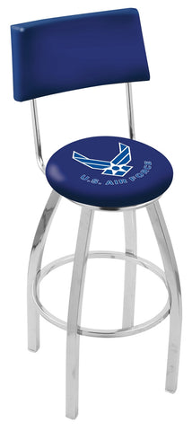 "30"" L8C4 - Chrome U.S. Air Force Swivel Bar Stool with a Back by Holland Bar Stool Company"