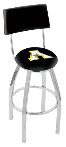 "ASU Mountaineers 30"" L8C4 - Chrome Appalachian State Swivel Bar Stool with a Back by Holland Bar Stool Company"