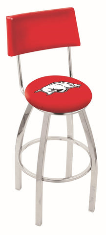 "Arkansas Razorbacks 30"" L8C4 - Chrome Arkansas Swivel Bar Stool with a Back by Holland Bar Stool Company"