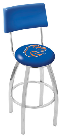 "BSU Broncos 30"" L8C4 - Chrome Boise State Swivel Bar Stool with a Back by Holland Bar Stool Company"