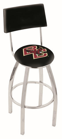 "BC Eagles 30"" L8C4 - Chrome Boston College Swivel Bar Stool with a Back by Holland Bar Stool Company"