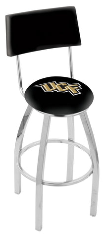 "UCF Knights 30"" L8C4 - Chrome Central Florida Swivel Bar Stool with a Back by Holland Bar Stool Company"