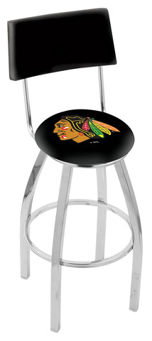 "30"" L8C4 - Chrome Chicago Blackhawks Swivel Bar Stool with a Back by Holland Bar Stool Company"