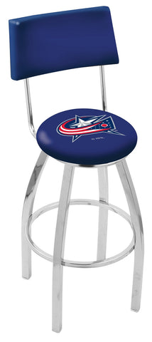 "30"" L8C4 - Chrome Columbus Blue Jackets Swivel Bar Stool with a Back by Holland Bar Stool Company"