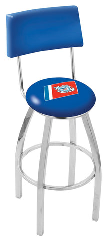 "30"" L8C4 - Chrome U.S. Coast Guard Swivel Bar Stool with a Back by Holland Bar Stool Company"