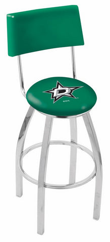 "30"" L8C4 - Chrome Dallas Stars Swivel Bar Stool with a Back by Holland Bar Stool Company"