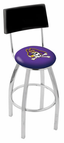 "ECU Pirates 30"" L8C4 - Chrome East Carolina Swivel Bar Stool with a Back by Holland Bar Stool Company"