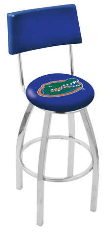 "UF Gators 30"" L8C4 - Chrome Florida Swivel Bar Stool with a Back by Holland Bar Stool Company"