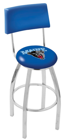 "Maine Black Bears 30"" L8C4 - Chrome Maine Swivel Bar Stool with a Back by Holland Bar Stool Company"