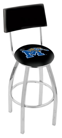 "Memphis Tigers 30"" L8C4 - Chrome Memphis Swivel Bar Stool with a Back by Holland Bar Stool Company"