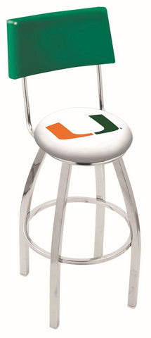 "Miami Hurricanes 30"" L8C4 - Chrome Miami (FL) Swivel Bar Stool with a Back by Holland Bar Stool Company"