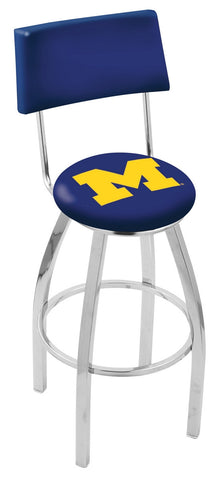 "Michigan Wolverines 30"" L8C4 - Chrome Michigan Swivel Bar Stool with a Back by Holland Bar Stool Company"
