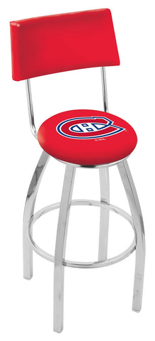 "30"" L8C4 - Chrome Montreal Canadiens Swivel Bar Stool with a Back by Holland Bar Stool Company"