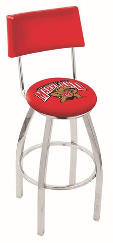 "UM Terrapins 30"" L8C4 - Chrome Maryland Swivel Bar Stool with a Back by Holland Bar Stool Company"