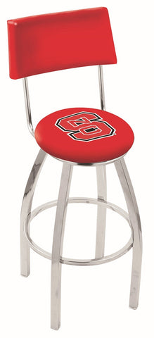 "NC State Wolfpack 30"" L8C4 - Chrome North Carolina State Swivel Bar Stool with a Back by Holland Bar Stool Company"