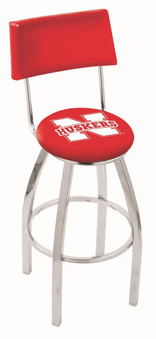 "Nebraska Cornhuskers 30"" L8C4 - Chrome Nebraska Swivel Bar Stool with a Back by Holland Bar Stool Company"
