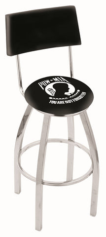 "30"" L8C4 - Chrome POW/MIA Swivel Bar Stool with a Back by Holland Bar Stool Company"