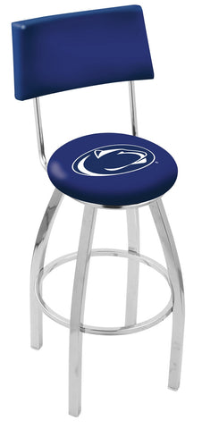 "PSU Nittany Lions 30"" L8C4 - Chrome Penn State Swivel Bar Stool with a Back by Holland Bar Stool Company"