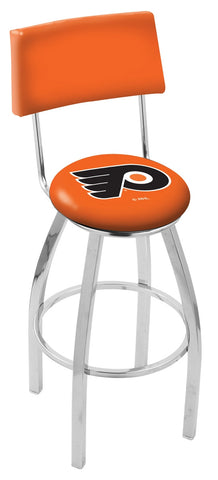 "30"" L8C4 - Chrome Philadelphia Flyers Swivel Bar Stool with a Back by Holland Bar Stool Company"
