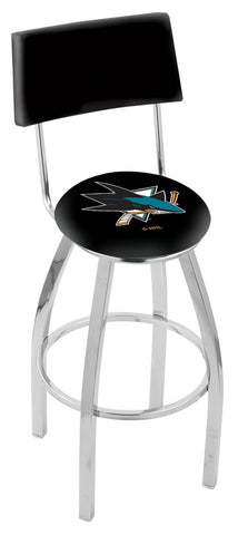 "30"" L8C4 - Chrome San Jose Sharks Swivel Bar Stool with a Back by Holland Bar Stool Company"