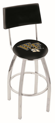 "Wake Forest Demon Deacons 30"" L8C4 - Chrome Wake Forest Swivel Bar Stool with a Back by Holland Bar Stool Company"
