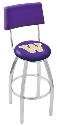 "UW Huskies 30"" L8C4 - Chrome Washington Swivel Bar Stool with a Back by Holland Bar Stool Company"