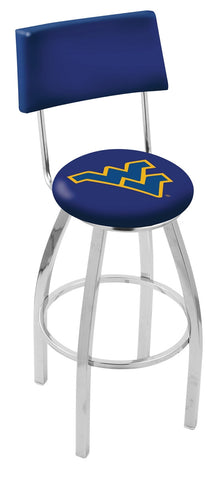 "WVU Mountaineers 30"" L8C4 - Chrome West Virginia Swivel Bar Stool with a Back by Holland Bar Stool Company"