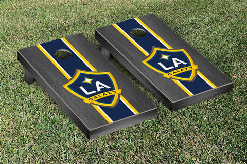 LA Galaxy Onyx Stained Stripe Version Cornhole Game Set by Victory Tailgate