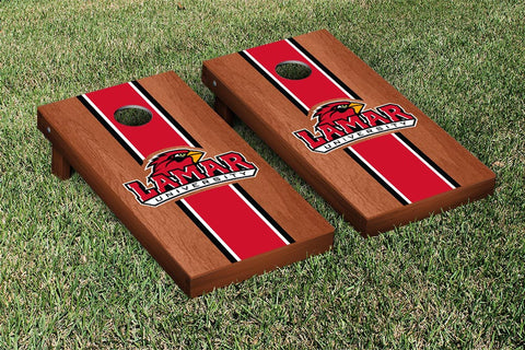 Lamar LU Cardinals Rosewood Stained Stripe Version Cornhole Set Victory Tailgate 28181