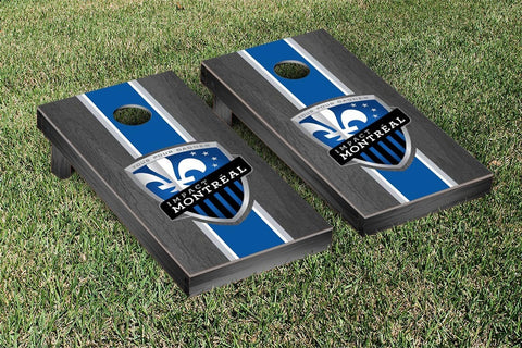 Montreal Impact Onyx Stained Stripe Version Cornhole Game Set by Victory Tailgate