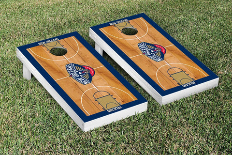 New Orleans Pelicans Cornhole Game Set Basketball Court Version - Victory Tailgate 28796