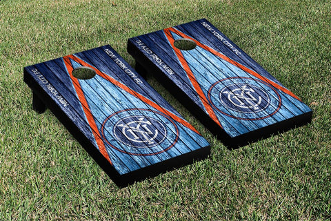 New York City FC Weathered Triangle Version Cornhole Game Set by Victory Tailgate