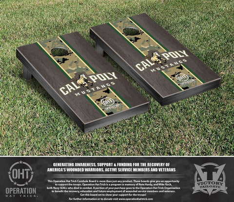 Operation Hat Trick Cal Poly Mustangs Onyx Stained Stripe Version  Cornhole Set Victory Tailgate 30738