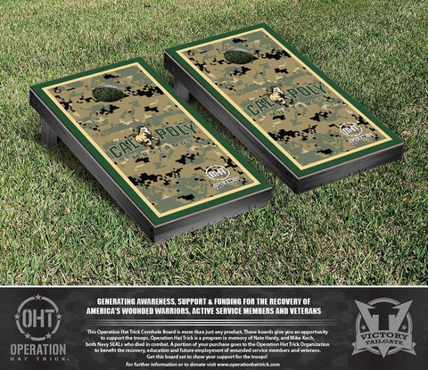 Operation Hat Trick Cal Poly Mustangs Cornhole Game Set Border Version - Victory Tailgate 31188