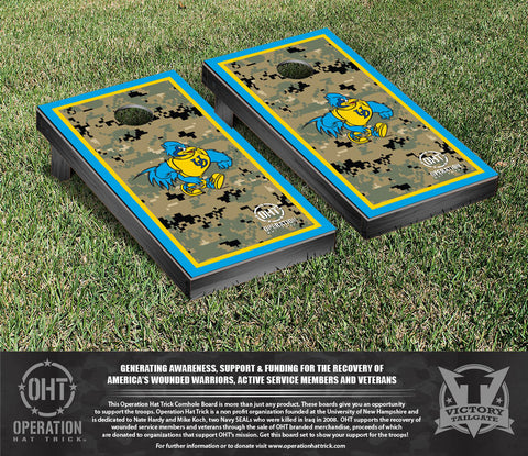 Operation Hat Trick University of Delaware Blue Hens Cornhole Game Set Border Version - Victory Tailgate 32528