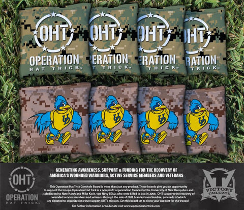 Operation Hat Trick University of Delaware Blue Hens Corn Hole Bag Logo Set - corn filled
